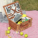 Willow Picnic Basket Set for 2 Persons with Large