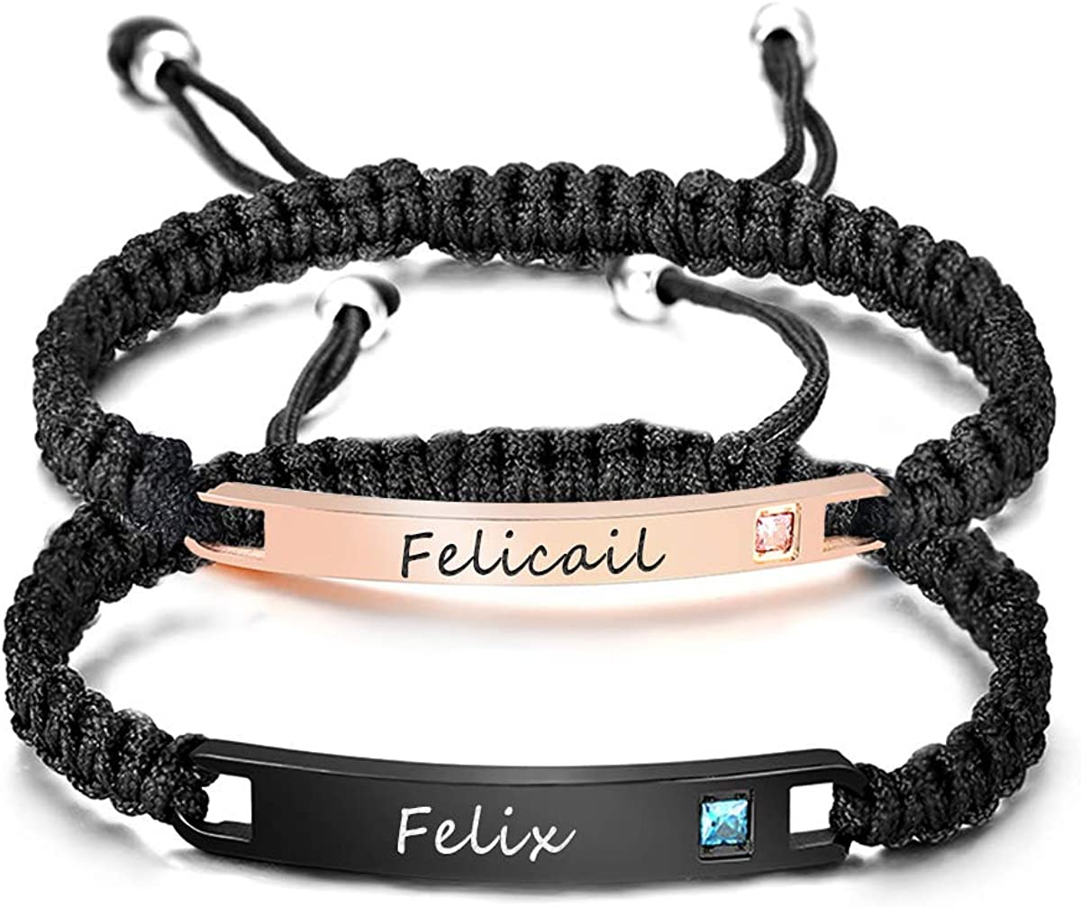 YoPicks Custom Couple Bracelets, Engraved His and Hers Matching Set Bar Bracelet Personalized Rope Braided Nameplate ID Bracelet for Lover