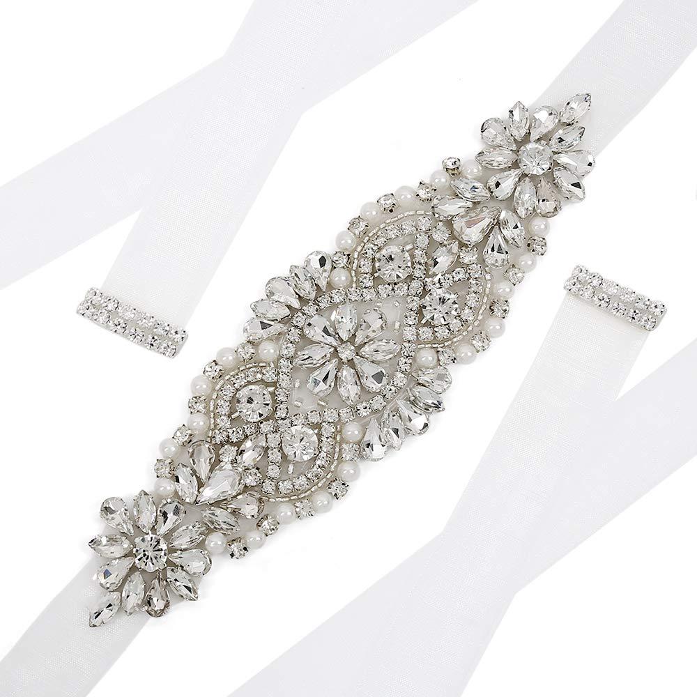 Princess Sash enbellishment 4yards 134TWhite queendream 2/yardas Rhinestone Applique para cinturones de novia rhinestone Applique Trim de perla apliques accesorios hecho a mano vestido de boda