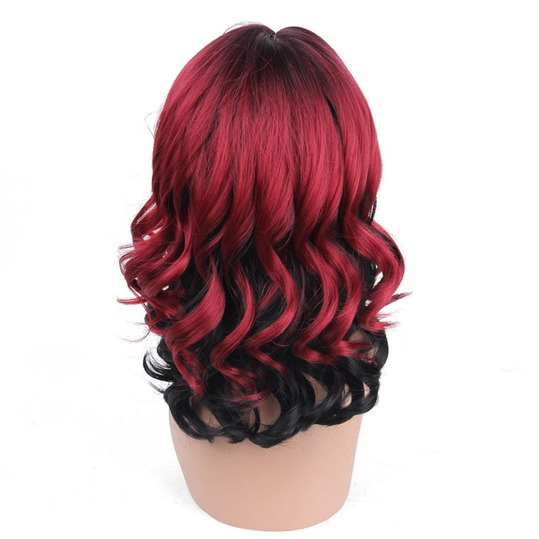 TAOtTAO Women Fashion Lady Gold Pink Wine Red Gradient Short Curls Hair Cosplay Party Wig Gold