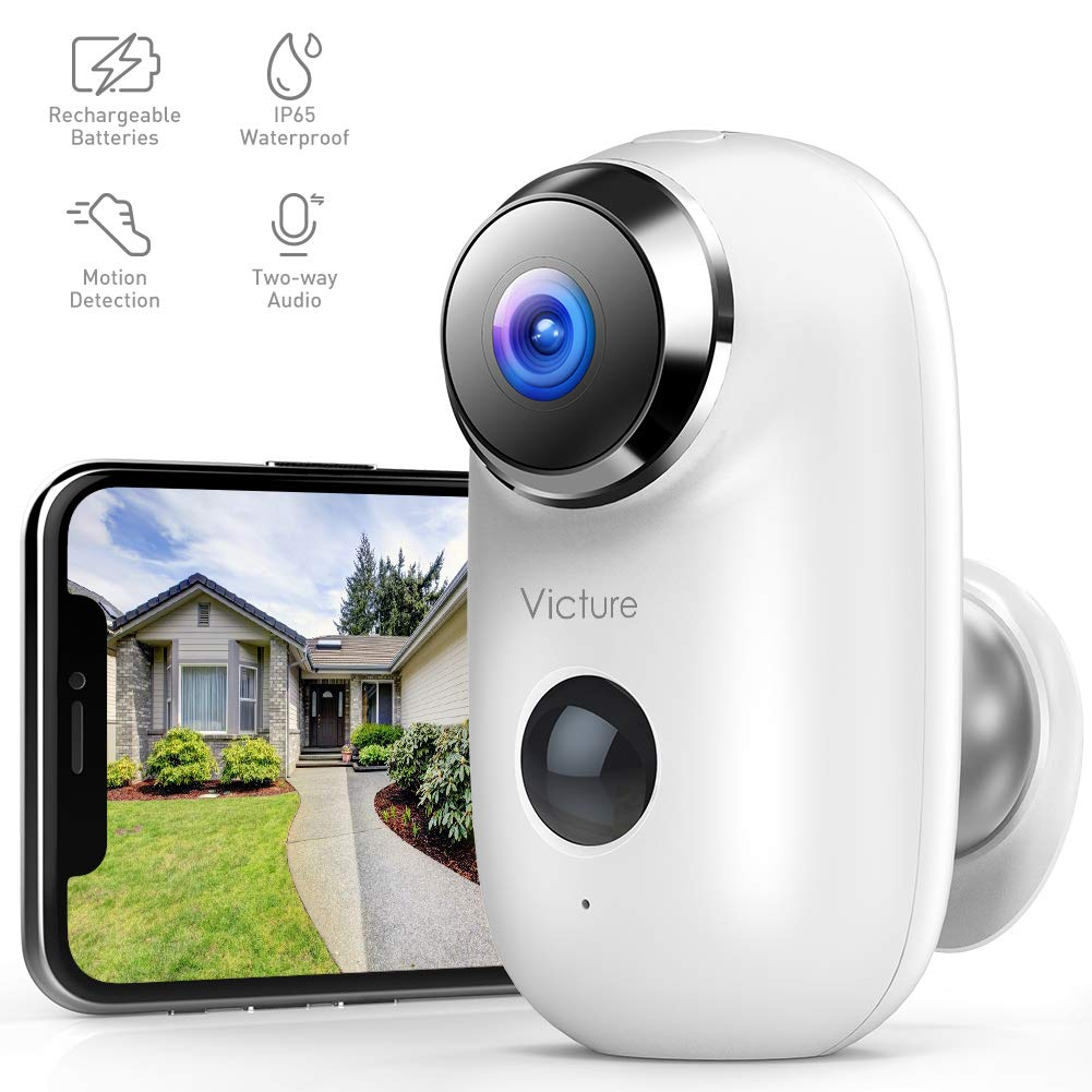 Victure 1080P Wireless Rechargeable Battery Powered WiFi Camera Outdoor Home Security Camera with IP65 Waterproof PIR Motion Detection 2-Way Audio and Night Vision Cloud Storage SD Slot