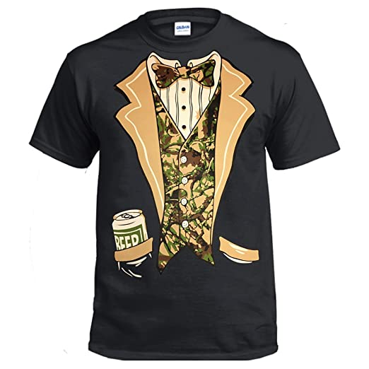 4385316a8 fresh tees Camo Tuxedo with Bowtie and Beer Can T-Shirt Funny Shirts