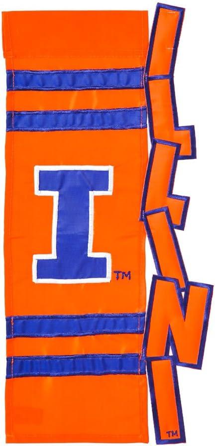 Evergreen University of Illinois Fighting Illini NCAA Garden Flag Applique 12.5