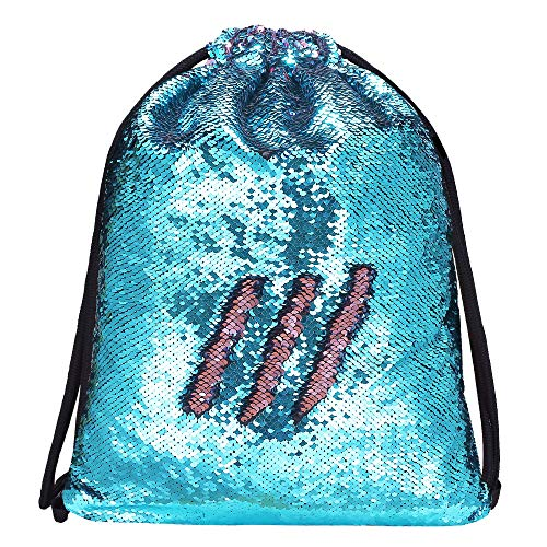 Alritz Mermaid Sequin Drawstring Bag, Reversible Sequin Backpack Glittering Outdoor Shoulder Bag for Girls Boys Women (Blue/Pink) -