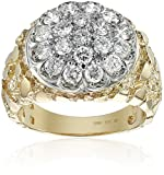 Men's 10k Two-Tone Gold with Nugget Side Accent Diamond Cluster Ring (1.90 cttw, H-I Color, I1-I2 Clarity)