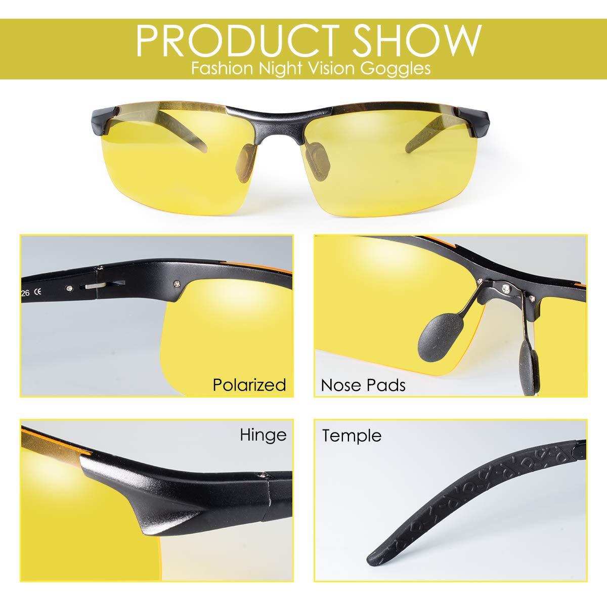 CHEREEKI Gafas de Sol Visión Nocturna, Gafas de Sol Visión Nocturna Polarizadas Hombre Mujer, Gafas de Conducir Deportes100% Protección UV400 Gafas para Conducción (amarillo)