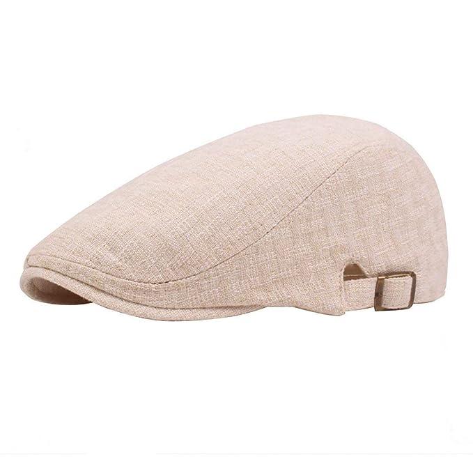 4dc9e354752b7 Hombres De Verano De Algodón Y Lino Boinas Sólido Color Sombrero Plano Moda  Especial Estilo Gorros