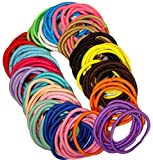 Kenz Laurenz 100 Hair Elastics Hair Ties No Crease Ouchless Ponytail Holders No Metal 4mm (100 Hair Elastics--Rainbow)
