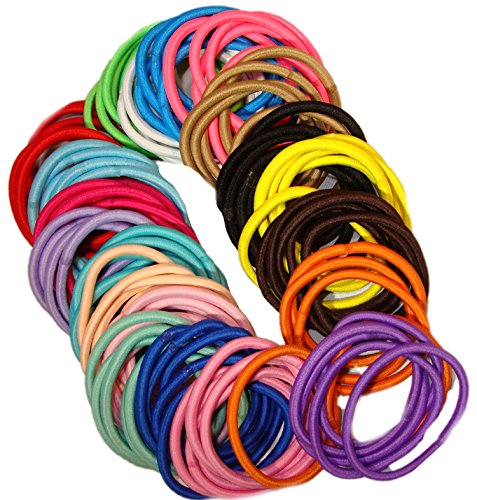 Kenz Laurenz 100 Hair Elastics Hair Ties No Crease Ouchless Ponytail Holders No Metal 4mm (100 Hair Elastics-Rainbow)