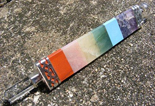 (7 chakra/quartz triangular 3 sided healing wand reiki, meditation, mystic)