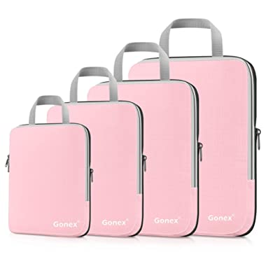 Gonex Compression Packing Cubes Set, Expandable Packing Organizers 4pcs(Pink)