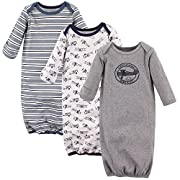 Hudson Baby Baby Infant Cotton Gown, 3 Pack, Perfect Gentleman, 0-6 Months