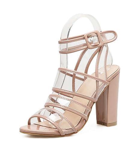 Scarpe Sposa Roma.Donna Pump 10 5cm Chunkly Heel Open Toe Slingback Hollow Trasparente