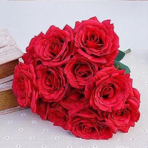 XGM GOU 12Pcs/Bundle Silk Roses Bride Bouquet for Home Wedding Party Christmas Decora Valentine's Day Present Craft Artificial Flowers 92