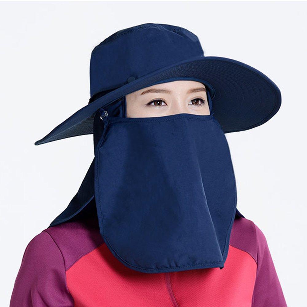 LiuJianQin Hüte ZXQZ Hut-weiblicher Krankenpflege-Hals-UVschutz Sonnenblenden-Hut Breathable Sonnenschutz-Hut-im Freien kletternder Fischen-Hut Sonnenschutzkappe (Farbe   Blau)