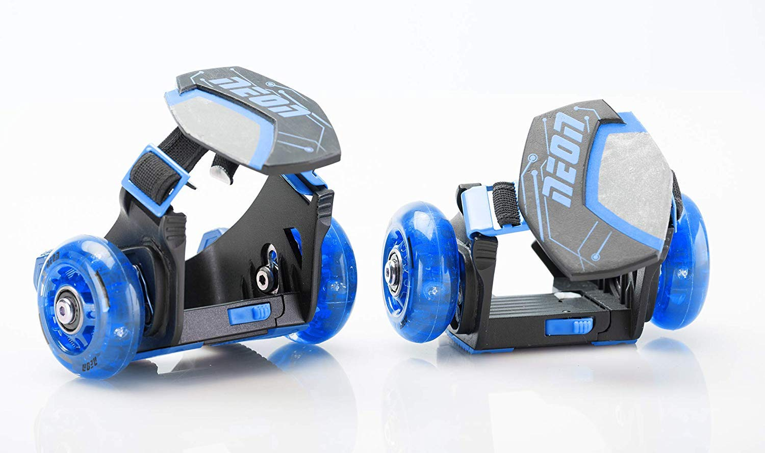 Yvolution Neon Street Rollers Pop N' Lock | Flashing Heel Wheels Clip on Skates, Blue