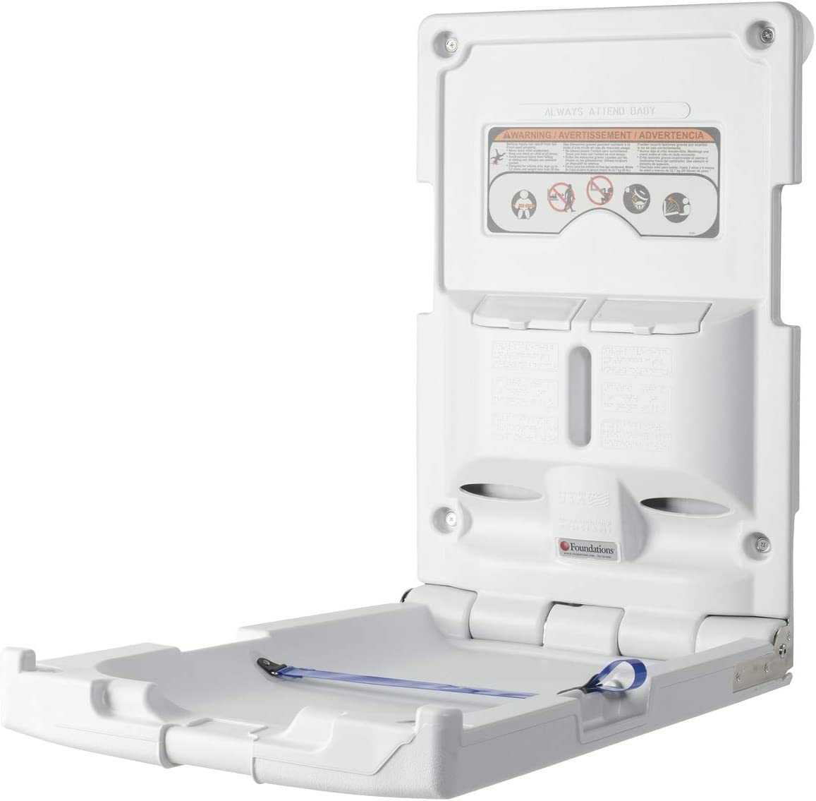 Foundations Classic Vertical Surface Mount Baby Changing Station Light Gray