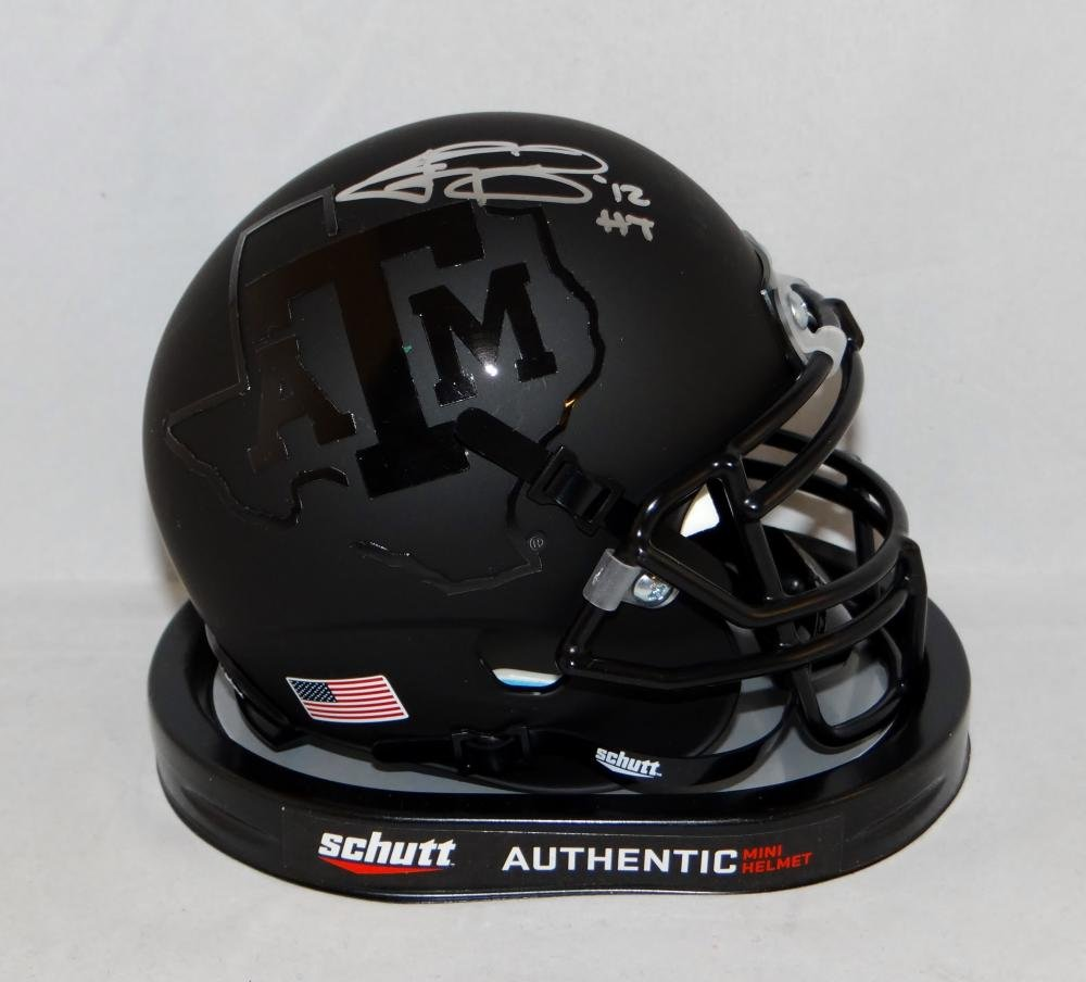 Johnny Manziel Signed S Texas A&M Aggies Black Mini Helmet W/HT- JSA W Auth