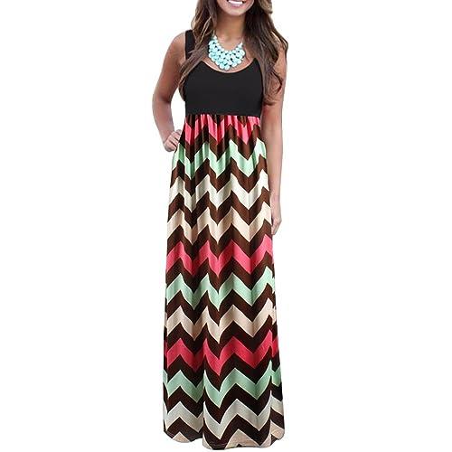 Chuangxiangt Womens Fashion Casual Sleeveless Scoop Neck Wave Striped Tank Maxi Long Dress