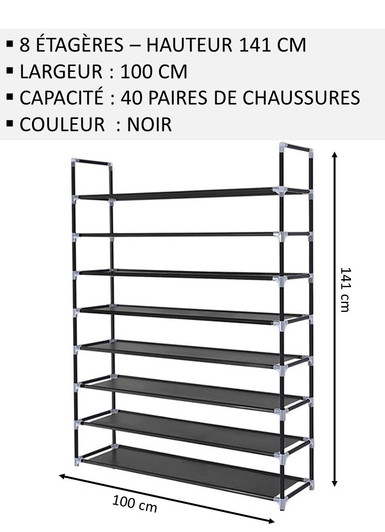 Iseaa Etagere a Chaussures 8 Couches pour 40 Paires de Chaussures Etagere Armoire 90 x 20 x 124 cm