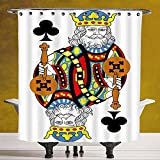 Fun Shower Curtain 3.0 by SCOCICI [ King,King of Clubs Playing Gambling Poker Card Game Leisure Theme without Frame Artwork,Multicolor ] Bathroom Accessories with Hooks