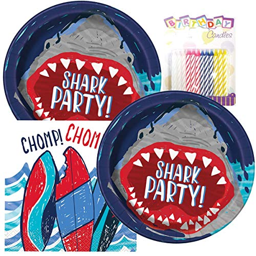 Shark Party Birthday Plates and Napkins Serves 16 With Birthday Candles]()