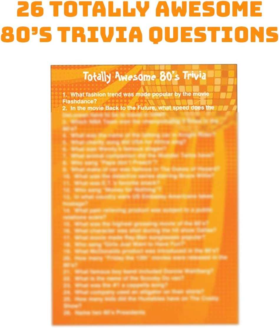 12 Sunglasses Multiple 80s Rock Star or Pop Dress-Up Set for 12-12 Pairs Fingerless Fishnet Wrist Gloves 144 Neon Gel Bracelets and 80s Trivia Questions