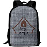 camper rucksack - Happy Camper Oxford Backpacks For Adults Traveling Backpacks Full Print Fashion Fit Camping Rucksack Pack, Casual Large College School Daypack