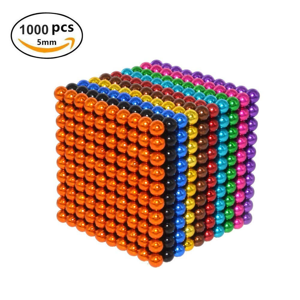 Q&Z Magic Magnetic Construction Toy Game,5mm 1000pcs Desk Building 3D Stacking Toys Creative Stress Relief and Intelligence Development