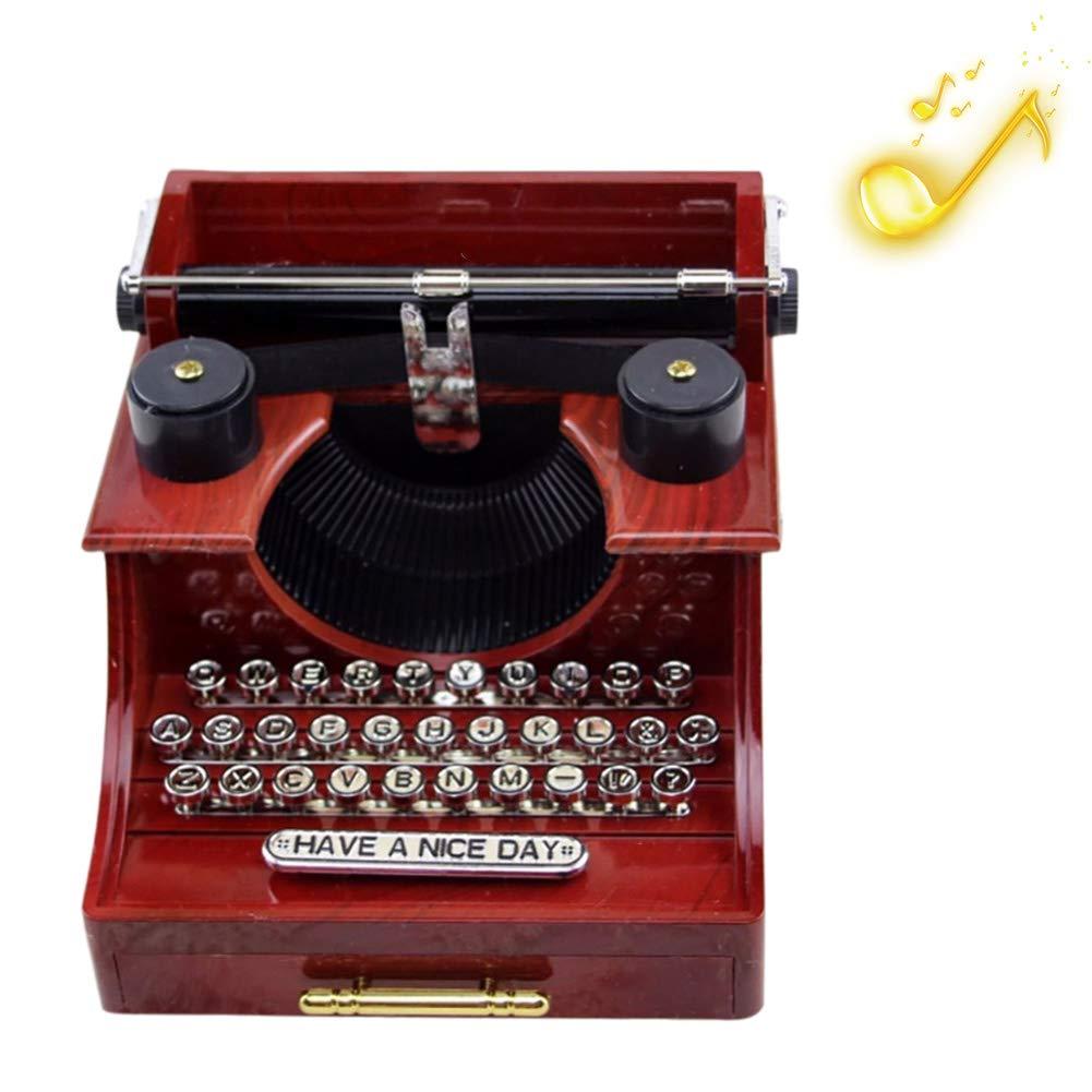 Surenhap Caja de música Antigua máquina de Escribir Caja de música Regalo para la Familia/Oficina/Decoración de Estudio: Amazon.es: Hogar