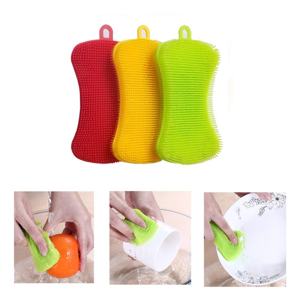 Silicone Sponge Dish Washing Kitchen Scrubber,Easy to Operate,Food-Grade Antibacterial Dish Scrubber | Heat-Resistant Pot Holder | Easy to Handle and Clean Non-Stick Brush(3 Pack) by Donsire (Image #2)