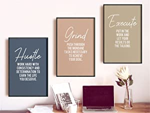 Minimalist Office Decor Canvas Wall Art Prints Positive Hustle Quote Printable Posters Positive Office Home Decor Fathers Day Gift 3 Pieces Home Decor With Inner Frame Ready to Hang 12x20inch*3