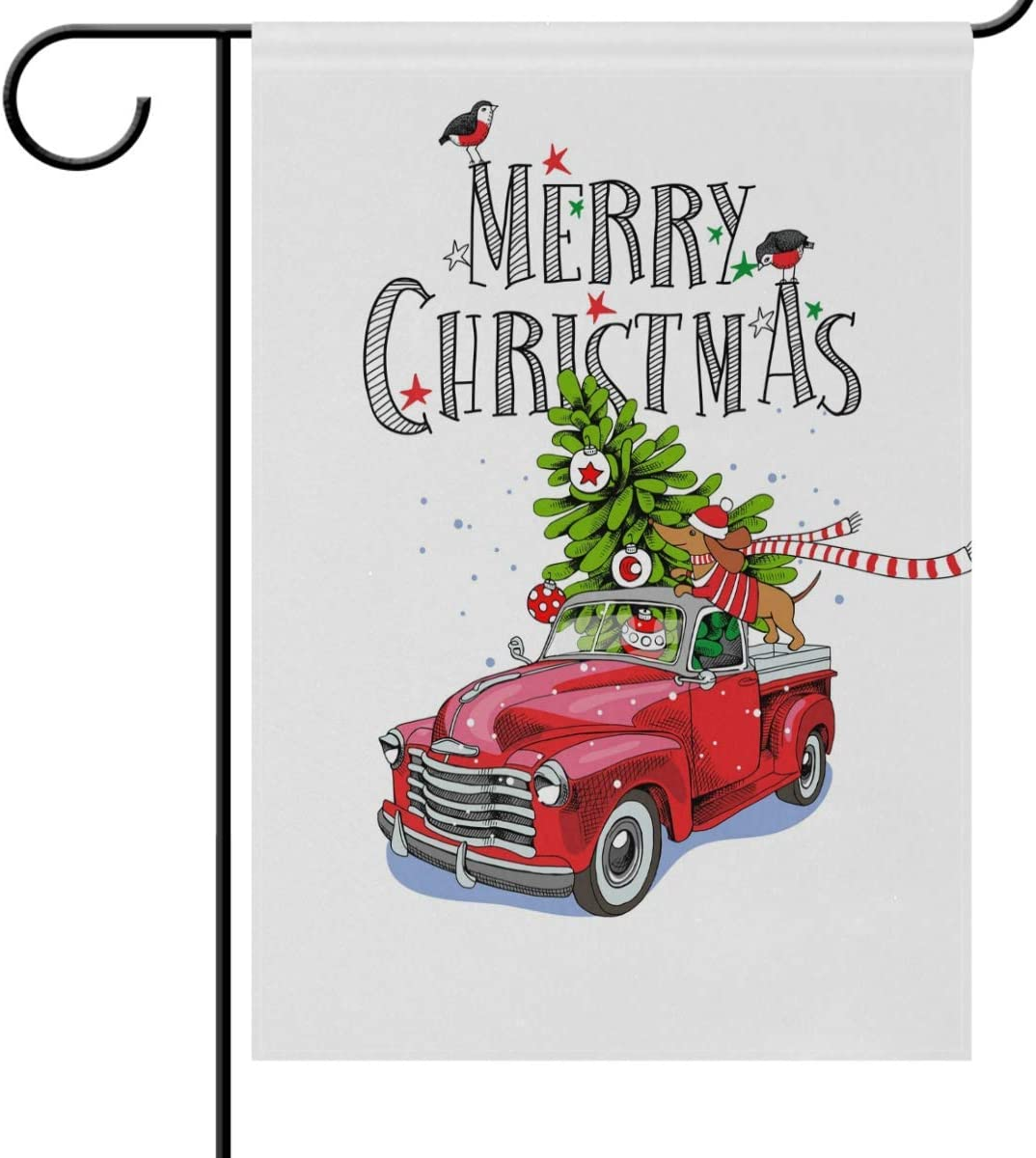 Christmas Red Truck Car Dachshund Dog Garden Yard Flag Banner House Home Decor 28 x 40 inch, Tree Snow Bird New Year Large Decorative Double Sided Welcome Flags for Holiday Wedding Party Outdoor Ou