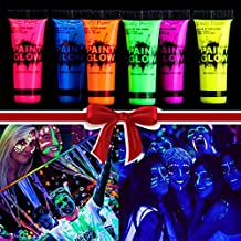Tobnbo Glow Paint Glow in the Dark Body Paint Body&Face Glow Backlight Rave Festival Party ,night entertainment venue,Neon Fluorescent Kit 0.35oz Set of 6 Tubes (6 Color) …