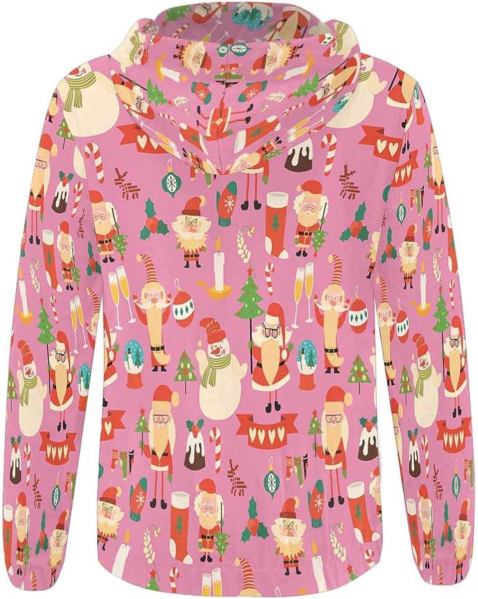 INTERESTPRINT Womens Cute Funny Christmas Santa Full-Zip Hoodie XS