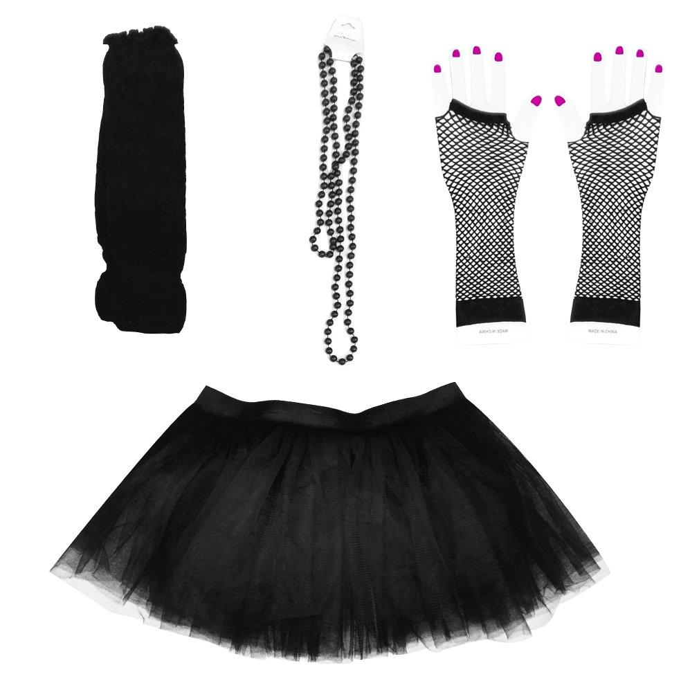 Dreamdanceworks 80s Fancy Costume Set - TUTU & LEG WARMERS & FISHNET GLOVES & BEADS (Black)