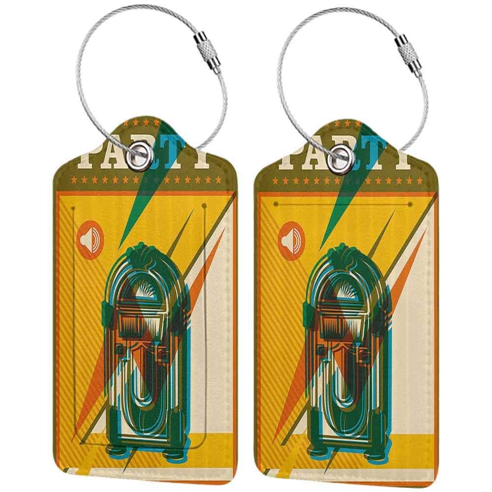 Multicolor luggage tag Jukebox Digital Retro Print Party Themed Old Antique Music Radio Hanging on the suitcase Olive Green Earth Yellow Azure Blue W2.7 x L4.6