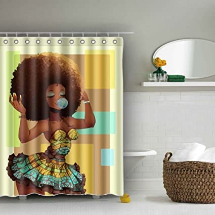 African Woman Shower Curtain Sets Mildew Resistant Sexy Black Girl Blowing Gums With Afro Hairstyle