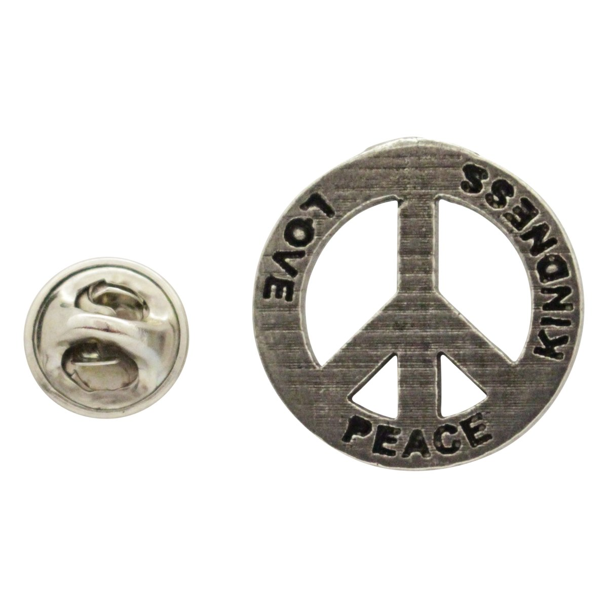Creative Pewter Designs, Pewter Peace Love Kindness Lapel Pin Brooch, Antiqued Finish, A250