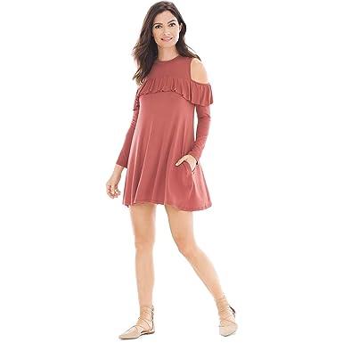 ff3f6522a6 ELAN Womens Cold Shoulder Ruffle Dress Rust Medium at Amazon Women s ...