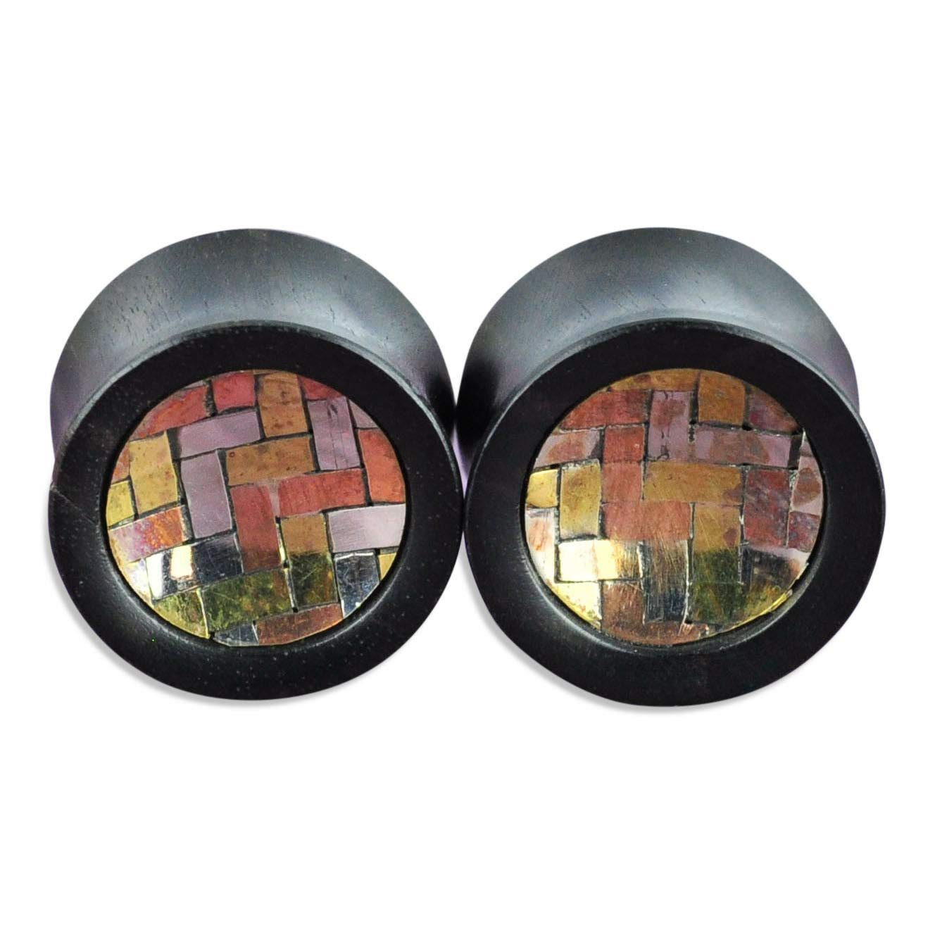 yati_gj 1 Pair Black Areng Wood Plugs with Silver, Brass, and Copper Inlay Ear 12 mm (1/2'')