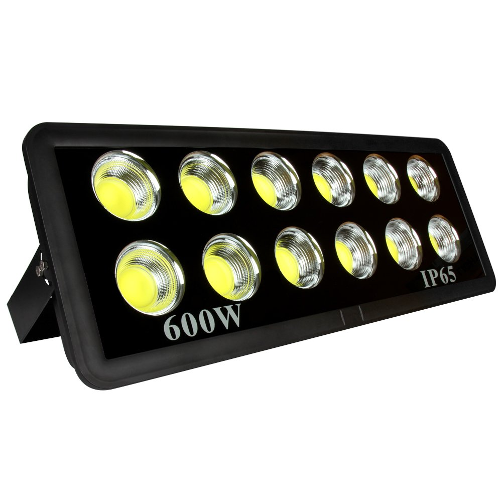 LED Flood Light 600W, Morsen 6000K IP65 Waterproof 6000K COB Super Bright Outdoor Security Floodlight Wall Lights for Landscape, Garden, Playground, Parking Lot and Commercial Lighting, Cool White