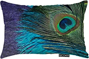 Nicokee Throw Pillow Cover Purple and Teal Peacock Decorative Pillow Case Home Decor 20x12 Inches Pillowcase