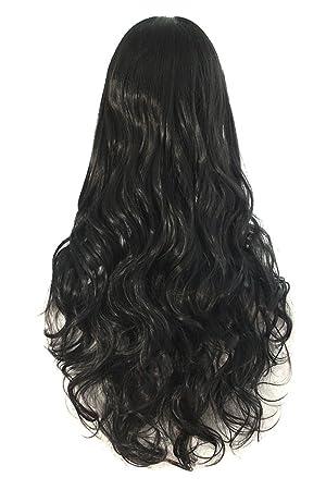 Pelucas largas onduladas del pelo rizado de las mujeres pelucas sintéticas de la peluca llena del