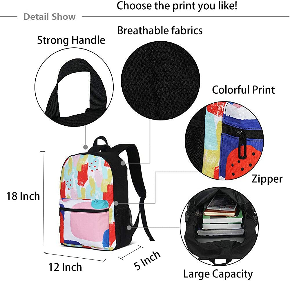 3D Rainbow Wolf Girls Backpacks School kids Bookbag Children Travel Shoulder Bag Casual Daypack 17 Inch Plus Laptop Bag for Unisex Teens Women Boys