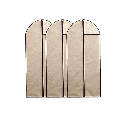 Hongrui - Funda de traje, funda para ropa, guardarropa, textil no tejido, con cremallera, 3Packs, (Beige, 60*137cm)
