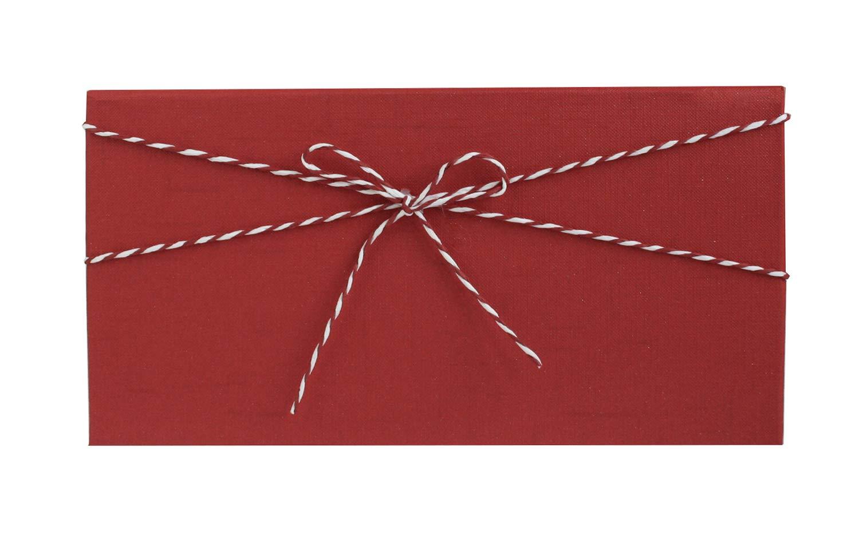 Scatola Con Texture Crema Con Coperchio Rosso Interno a Scacchi e Nastro Decorativo a Strisce 27,2 x 15,2 x 6,5 cm Emartbuy Lusso Rigido Scatola da Regalo Sottile a Forma di Rettangolo