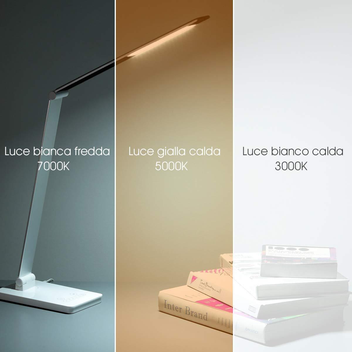 POWERADD Lampadina Scrivania a LED, Lampada da Tavolo con 3 modalità e 6 Luce Regolabile, Controllo Touch3000K-7000K, Occhi- Cura Lampadina Adatto a Uffici, Lettura, Lavoro, ECC.