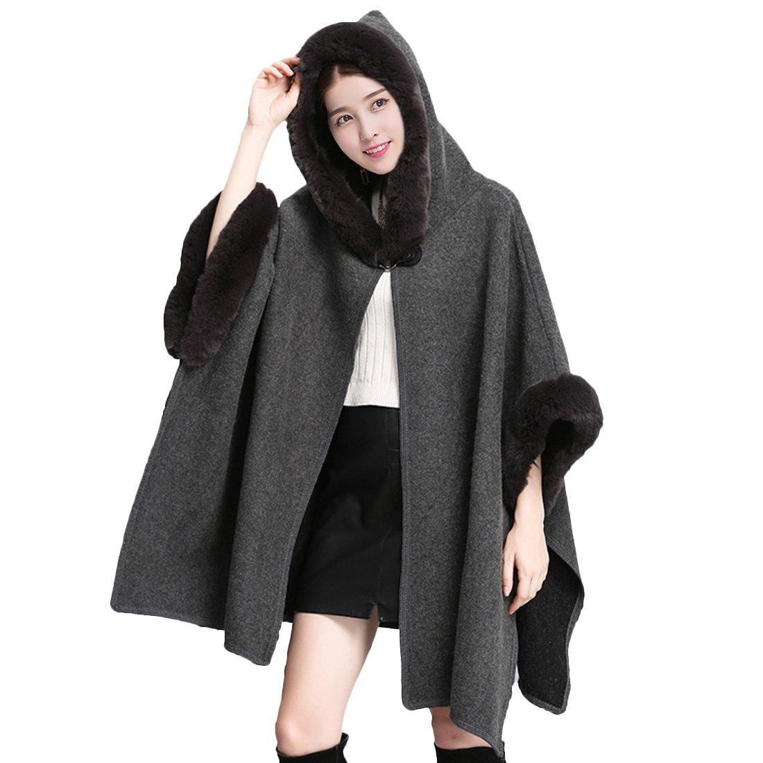 Partiss Women Faux Fur Hooded Winter Fashion Wool Cloak Capes Cardigans Coat 20171019YX4-3