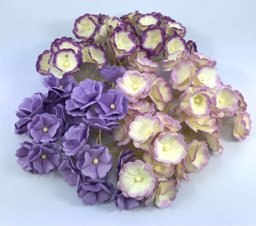 100 pcs. Blossom Flower Purple Tone Mulberry Paper Flower 20-25 mm Scrapbooking Wedding Doll House Supplies Card by' Thai Decorated by Thai Decorated